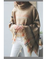 Free People Beige Legends Poncho - Lyst