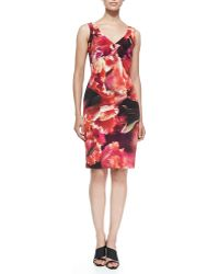 Nicole Miller Sleeveless Seamed Floral Cocktail Dress - Lyst