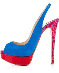 Christian Louboutin Lady Peep Sling Suede/Patent - Lyst
