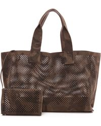 Pedro Garcia Perforated Tote Navy - Lyst