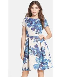 Adrianna Papell Floral Matelasse Fit and Flare Dress blue - Lyst