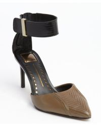 Dolce Vita Olive Textured Leather Anklestrap Dorsay Pumps - Lyst