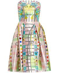 Peter Pilotto Printed Silk-Mikado Strapless Dress - Lyst