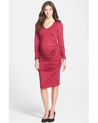 Eva Alexander - London Ruched Maternity Midi Dress - Lyst