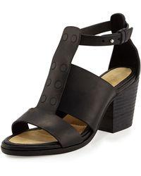Zara Block Heel Sandal With Rhinestones In Black Lyst