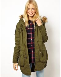 Asos Faux Fur Hooded Detachable Lined Parka - Lyst