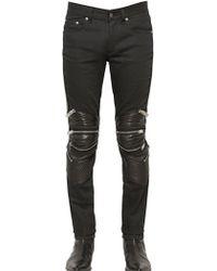 Saint Laurent Stretch Denim  Leather Jeans - Lyst