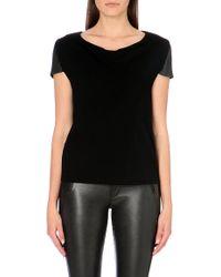 Maje Leather Sleeve T-shirt - Lyst