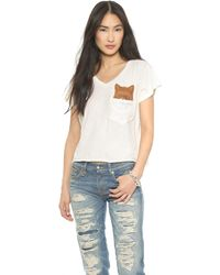 Wildfox Pocket Fox Tee  Vintage Lace - Lyst