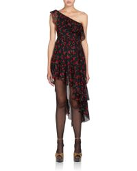 Saint Laurent Cherry-Print One-Shoulder Dress black - Lyst