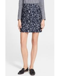 Carven Women'S Lace & Vichy Skirt - Lyst
