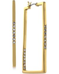 Vince Camuto - Goldtone Pave Rectangle Hoop Earrings - Lyst
