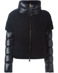 Herno - Knitted Panel Padded Jacket - Lyst