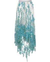 Blumarine Long Tulle Skirt with Blue Sequined Flowers - Lyst