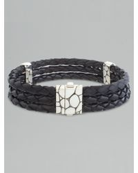 John Hardy Kali Woven Leather Bracelet silver - Lyst