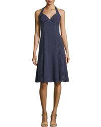 Michael Kors Dot-Print Halter-Neck Dress - Lyst