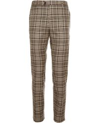 Etro Tapered Checked Wool And Cotton-Blend Trousers - Lyst