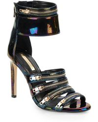 BCBGeneration Casey Holographic Cuffed Zip Dress Sandals - Lyst