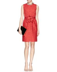 Lanvin Rose Appliqué Circular Cutout Dress - Lyst