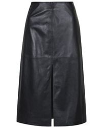 Topshop Leather Split Front Skirt By Boutique - Lyst