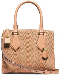 Michael Kors Casey Sueded Snakeskin Small Satchel - Lyst