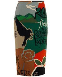 Burberry Prorsum   Poet-print Silk Pencil Skirt   Lyst