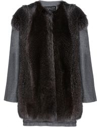 Giambattista Valli Wool and Cashmere Blend Coat with Fur - Lyst
