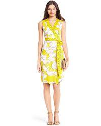 Diane von Furstenberg New Yahzi Short Silk Jersey Wrap Dress yellow - Lyst
