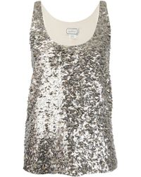By Malene Birger Sequin Embroidered Tank Top - Lyst