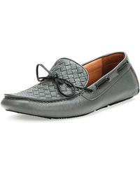 Bottega Veneta Woven Leather Driver Gray - Lyst
