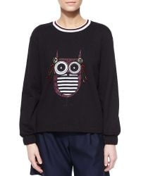 Mother Of Pearl - Baley Embellished Owl Knit Top - Lyst