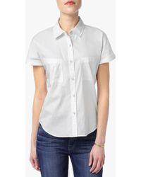 7 For All Mankind | Poplin Shirt In Blanc De Blanc | Lyst