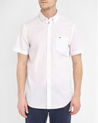 Lacoste | Pink Short-sleeve End-on-end Cloth Logo Button-down Shirt | Lyst