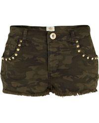 River Island Khaki Camo Print Stud Pocket Denim Shorts - Lyst