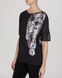Karen Millen Tee - Placement Animal Print - Lyst