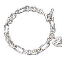 David Yurman Cable Heart Charm Bracelet With Diamonds silver - Lyst