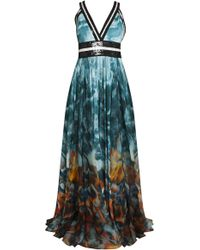 Elie Saab Halter Band Gown multicolor - Lyst