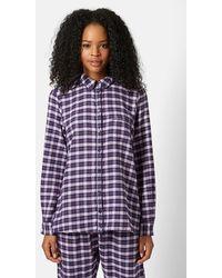 Topshop 'Betty' Checked Pajama Shirt - Lyst