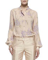 Michael Kors Bouquet-print Georgette Shirt - Lyst