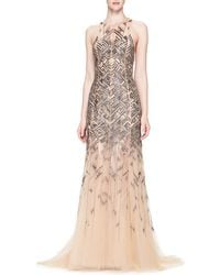 Lela Rose Bead-Embroidered Chiffon Gown pink - Lyst