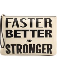 Karen Walker - Faster Better and Stronger Clutch Creamblack - Lyst