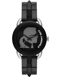 Karl Lagerfeld Black Unisex Strap Watch - Lyst