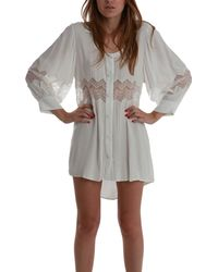 Shakuhachi Embroidered Lace Shirt Dress - Lyst