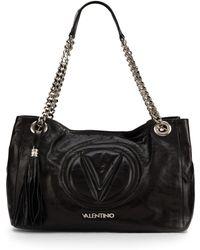 Valentino Verra Metallic Leather Shoulder Bag - Lyst