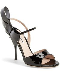 Miu Miu Bow Leather Sandal - Lyst