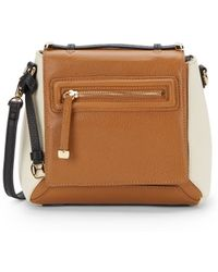 Halston Heritage Colorblock Pebbled Leather Crossbody Bagtan - Lyst