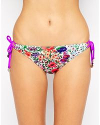 Mink Pink Mink Pink Garden Floral Tie Side Bikini Bottoms - Lyst