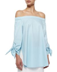 Tibi Off -The-Shoulder Cotton Poplin Tunic - Lyst