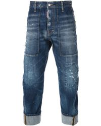 DSquared2 Distressed Straight Turnup Jeans - Lyst