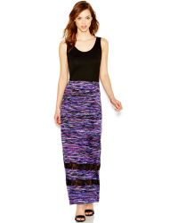 Kensie Colorful Brushed Stripes Print Maxi Dress - Lyst